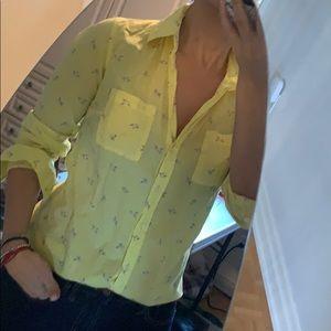 Yellow detailed cotton shirt